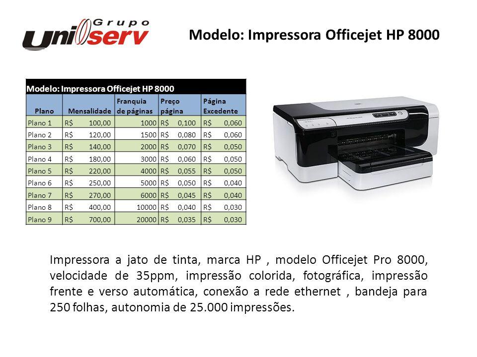 Modelo: Impressora Officejet HP 8000 Plano Mensalidade Franquia Preço Página de páginas página Excedente Plano 1 R$ 100,001000 R$ 0,100 R$ 0,060 Plano