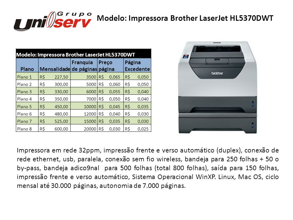 Modelo: Impressora Brother LaserJet HL5370DWT Plano Mensalidade Franquia Preço Página de páginas página Excedente Plano 1 R$ 227,503500 R$ 0,065 R$ 0,