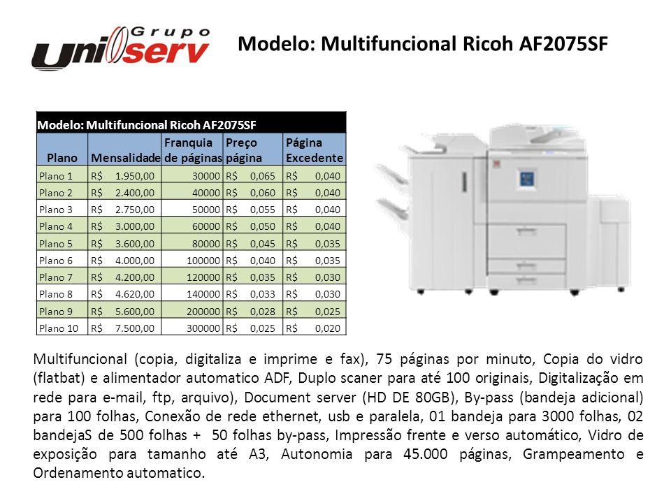 Modelo: Multifuncional Ricoh AF2075SF Plano Mensalidade Franquia Preço Página de páginas página Excedente Plano 1 R$ 1.950,0030000 R$ 0,065 R$ 0,040 P