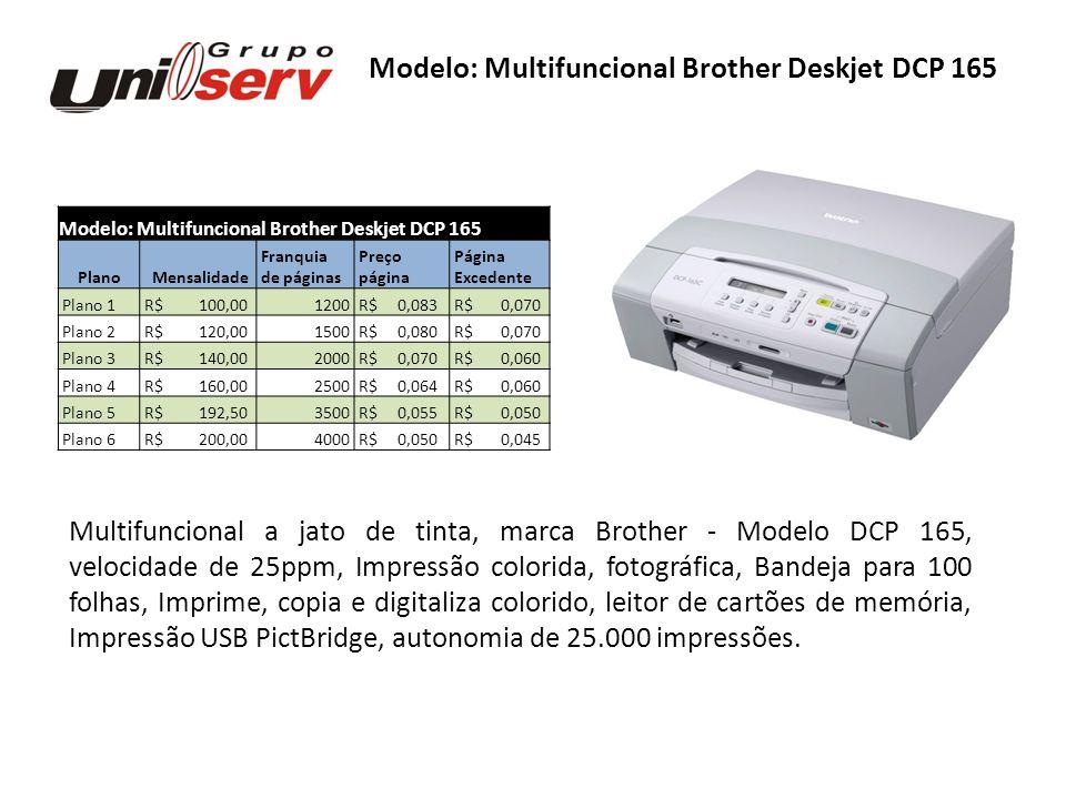 Modelo: Multifuncional Brother Deskjet DCP 165 Plano Mensalidade Franquia Preço Página de páginas página Excedente Plano 1 R$ 100,001200 R$ 0,083 R$ 0