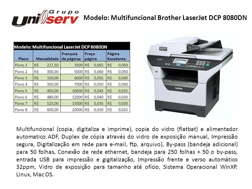 Modelo: Multifuncional LaserJet DCP 8080DN Plano Mensalidade Franquia Preço Página de páginas página Excedente Plano 1 R$ 227,503500 R$ 0,065 R$ 0,050