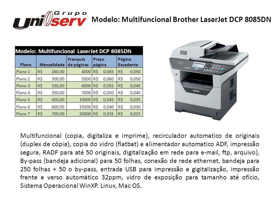 Modelo: Multifuncional LaserJet DCP 8085DN Plano Mensalidade Franquia Preço Página de páginas página Excedente Plano 1 R$ 260,004000 R$ 0,065 R$ 0,050