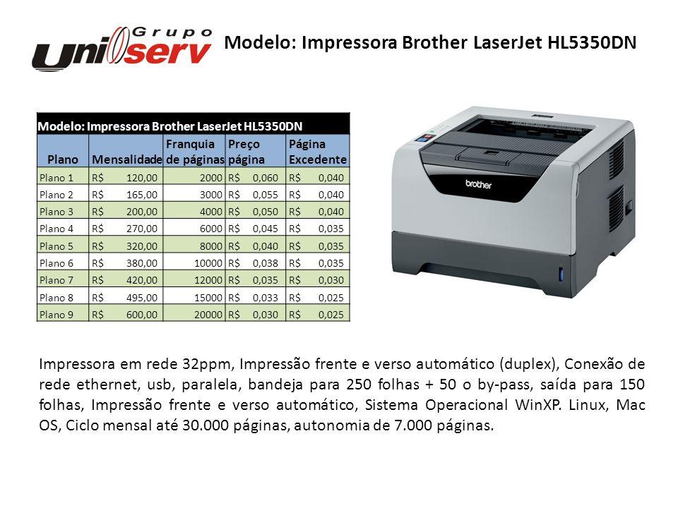 Modelo: Impressora Brother LaserJet HL5350DN Plano Mensalidade Franquia Preço Página de páginas página Excedente Plano 1 R$ 120,002000 R$ 0,060 R$ 0,0