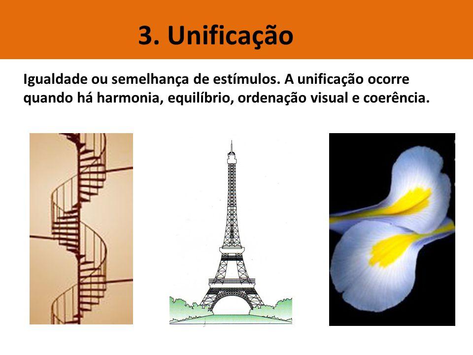 3. Unificação Igualdade ou semelhança de estímulos. A unificação ocorre quando há harmonia, equilíbrio, ordenação visual e coerência.