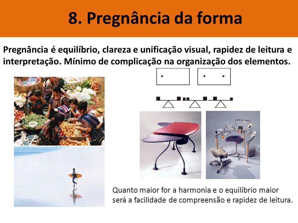 8. Pregnância da forma Pregnância é equilíbrio, clareza e unificação visual, rapidez de leitura e interpretação. Mínimo de complicação na organização