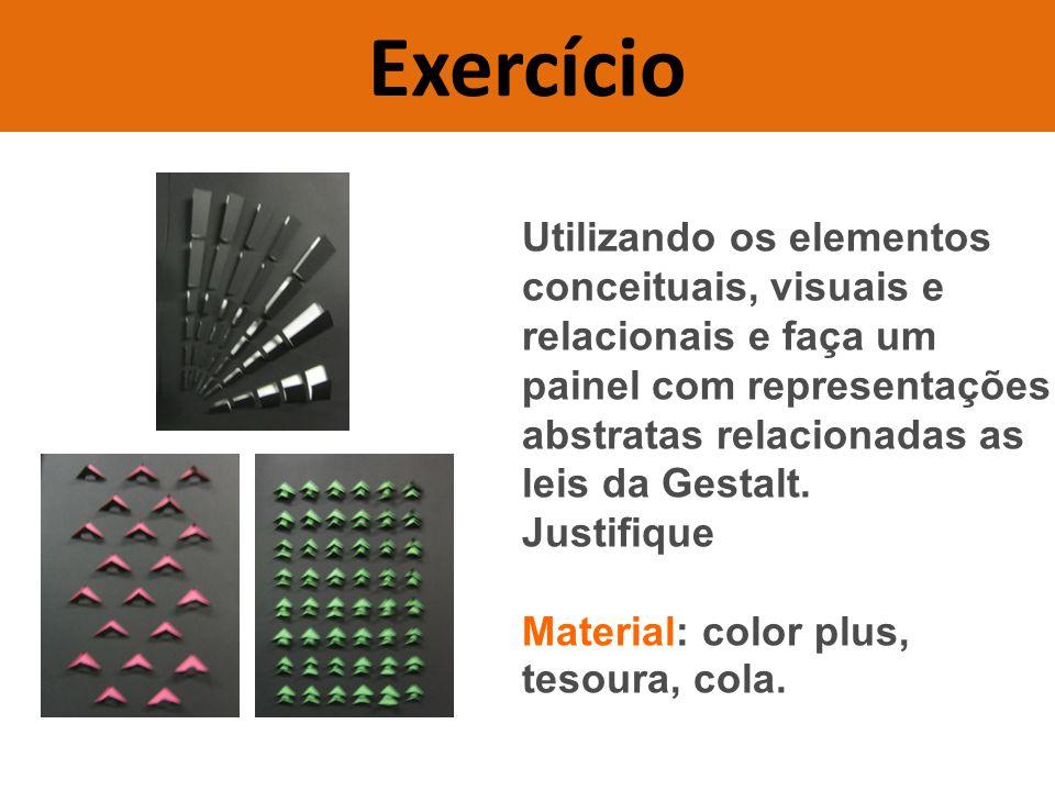 Utilizando os elementos conceituais, visuais e relacionais e faça um painel com representações abstratas relacionadas as leis da Gestalt.