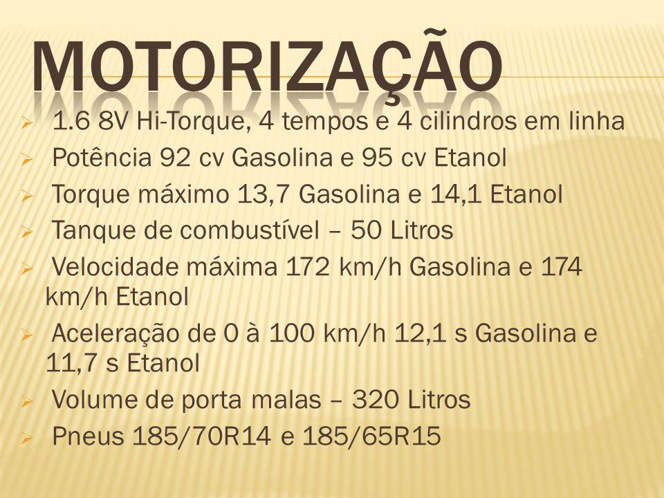 1.6 8V Hi-Torque, 4 tempos e 4 cilindros em linha Potência 92 cv Gasolina e 95 cv Etanol Torque máximo 13,7 Gasolina e 14,1 Etanol Tanque de combustív