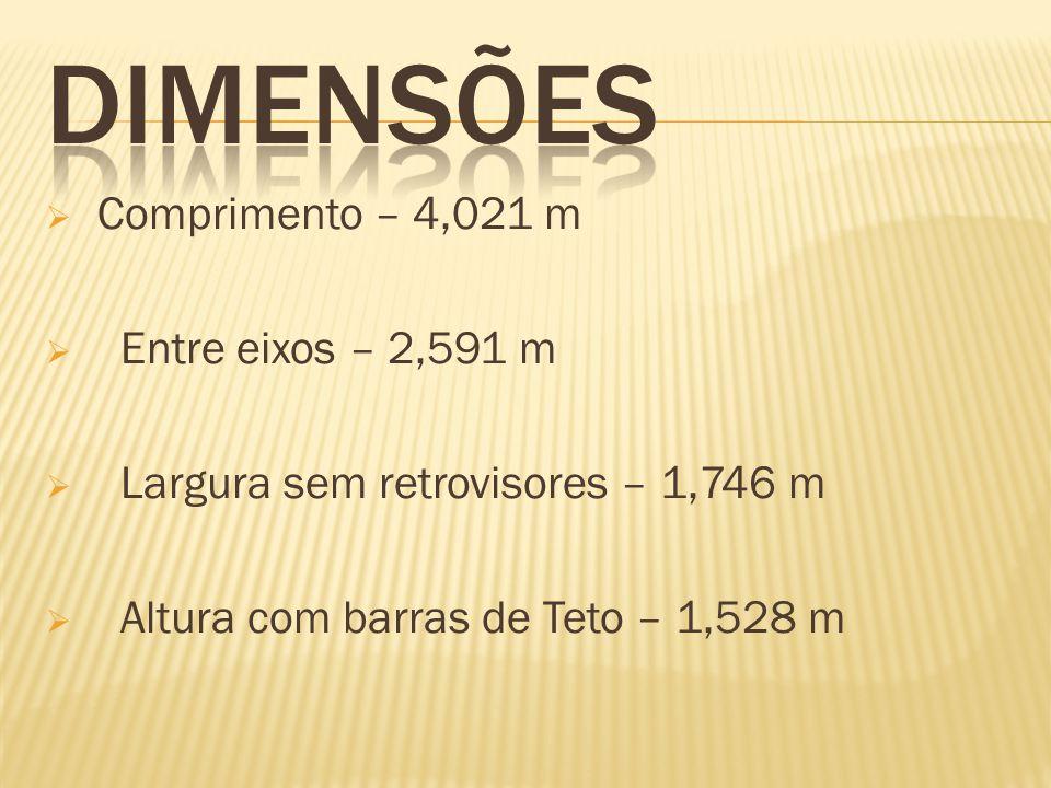 Comprimento – 4,021 m Entre eixos – 2,591 m Largura sem retrovisores – 1,746 m Altura com barras de Teto – 1,528 m