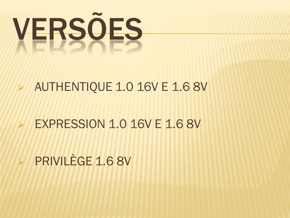 AUTHENTIQUE 1.0 16V E 1.6 8V EXPRESSION 1.0 16V E 1.6 8V PRIVILÈGE 1.6 8V