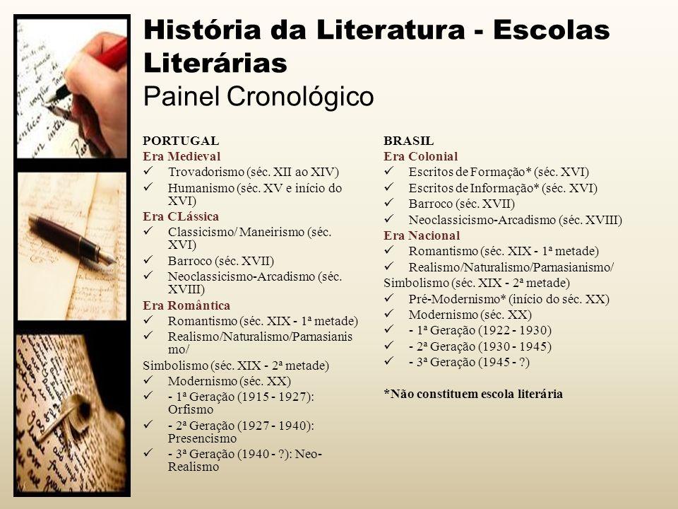 História da Literatura - Escolas Literárias Painel Cronológico PORTUGAL Era Medieval Trovadorismo (séc. XII ao XIV) Humanismo (séc. XV e início do XVI