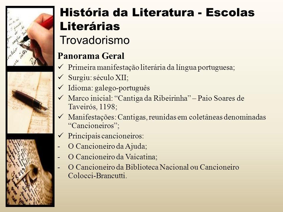 História da Literatura - Escolas Literárias Trovadorismo Panorama Geral Primeira manifestação literária da língua portuguesa; Surgiu: século XII; Idio