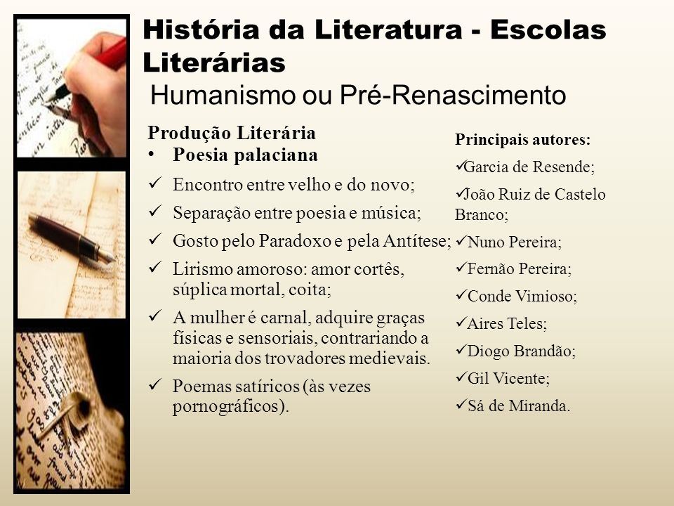 História da Literatura - Escolas Literárias Humanismo ou Pré-Renascimento Produção Literária Poesia palaciana Encontro entre velho e do novo; Separaçã