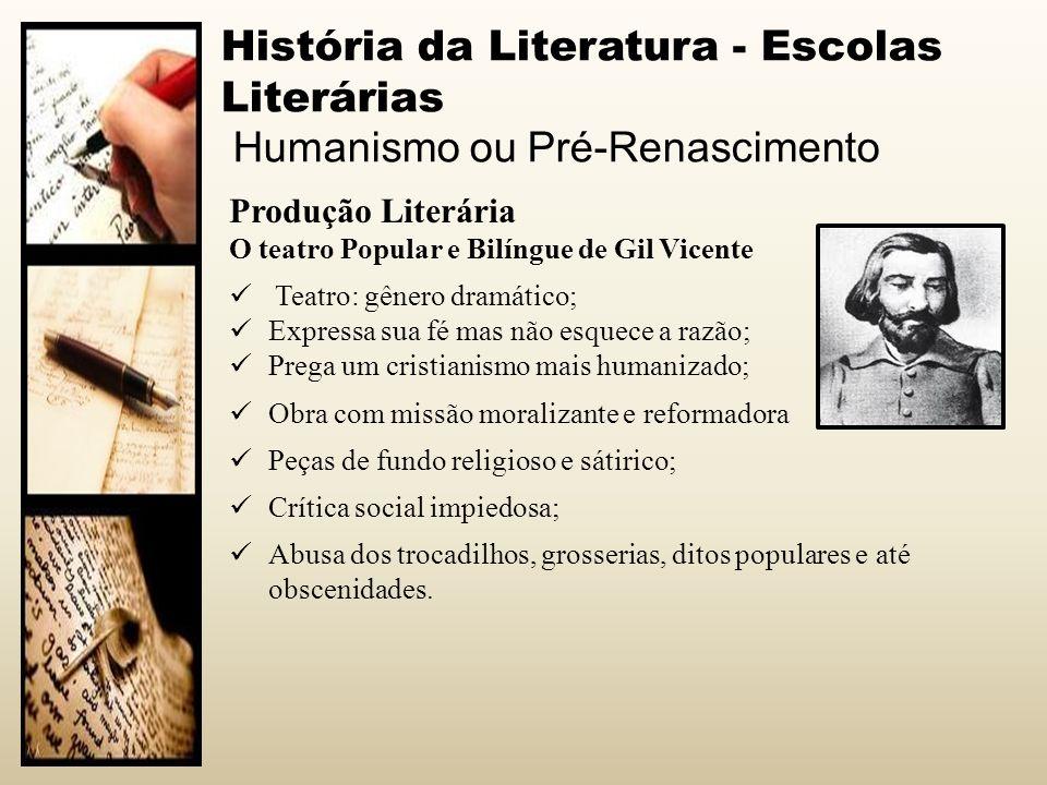 História da Literatura - Escolas Literárias Humanismo ou Pré-Renascimento Produção Literária O teatro Popular e Bilíngue de Gil Vicente Teatro: gênero