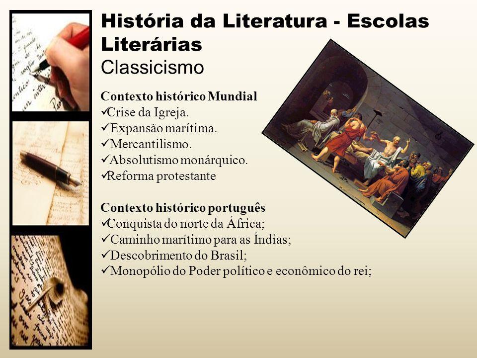 História da Literatura - Escolas Literárias Classicismo Contexto histórico Mundial Crise da Igreja. Expansão marítima. Mercantilismo. Absolutismo moná
