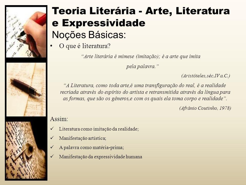 Teoria Literária - Arte, Literatura e Expressividade Noções Básicas: O que é literatura? Arte literária é mimese (imitação); é a arte que imita pela p