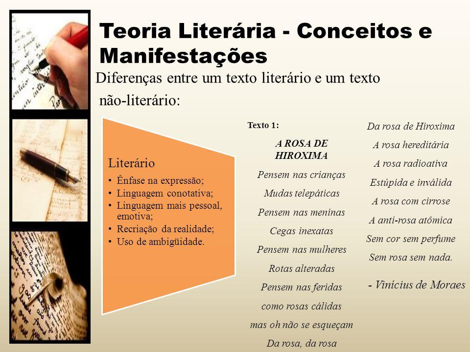 Teoria Literária - Conceitos e Manifestações Não-literário Ênfase no conteúdo; Linguagem mais impessoal; Realidade apenas traduzida; Normalmente sem ambigüidades ou duplas interpretações.
