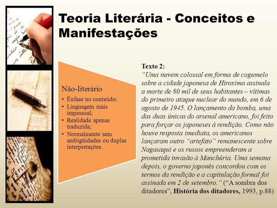 Teoria Literária - Conceitos e Manifestações Não-literário Ênfase no conteúdo; Linguagem mais impessoal; Realidade apenas traduzida; Normalmente sem a