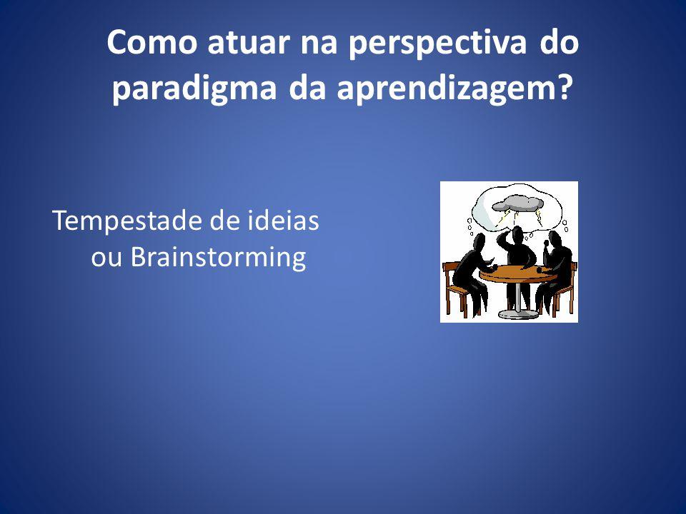 Como atuar na perspectiva do paradigma da aprendizagem? Tempestade de ideias ou Brainstorming
