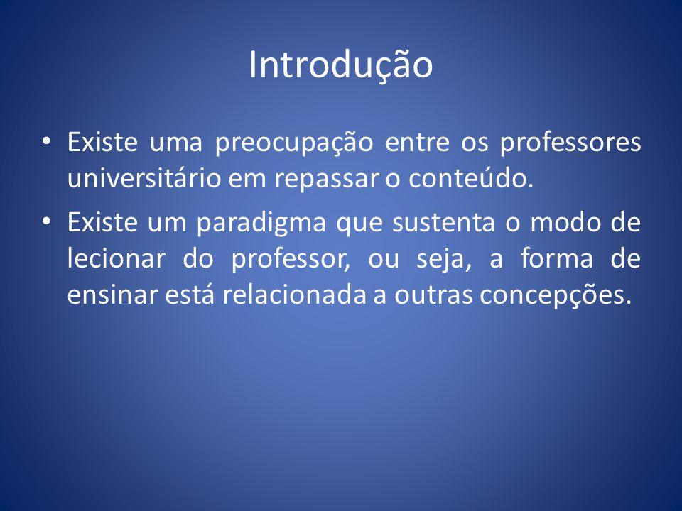 Introdução Existe uma preocupação entre os professores universitário em repassar o conteúdo. Existe um paradigma que sustenta o modo de lecionar do pr