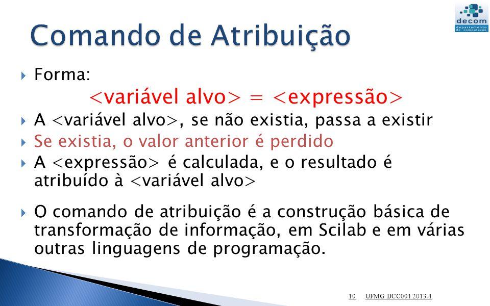 10 Forma: = A, se não existia, passa a existir Se existia, o valor anterior é perdido A é calculada, e o resultado é atribuído à O comando de atribuiç