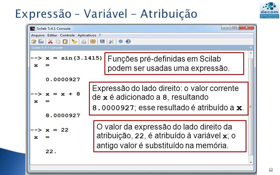 13 Funções pré-definidas em Scilab podem ser usadas uma expressão. Expressão do lado direito: o valor corrente de x é adicionado a 8, resultando 8.000