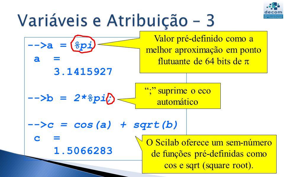 -->a = %pi a = 3.1415927 -->b = 2*%pi; -->c = cos(a) + sqrt(b) c = 1.5066283 UFMG DCC001 2013-1 15 ; suprime o eco automático Valor pré-definido como