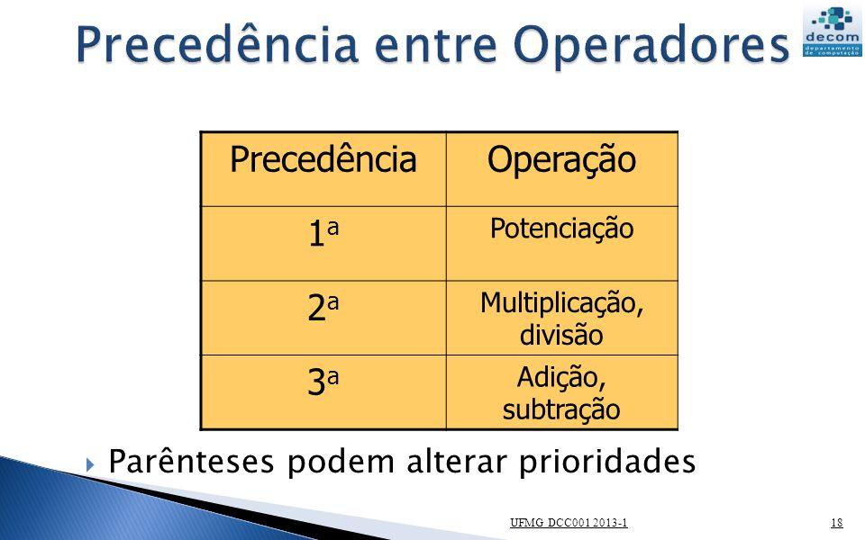 UFMG DCC001 2013-118 PrecedênciaOperação 1a1a Potenciação 2a2a Multiplicação, divisão 3a3a Adição, subtração Parênteses podem alterar prioridades