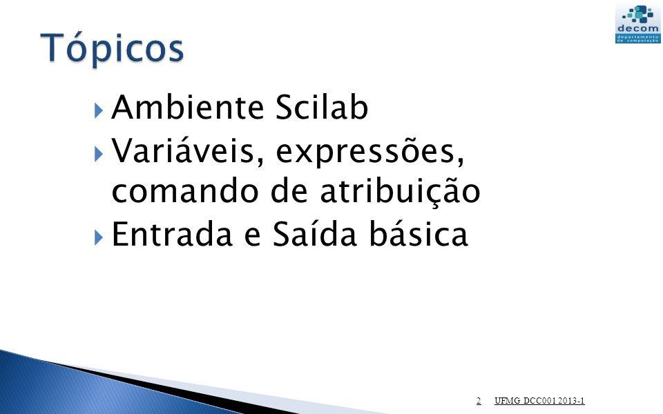 13 Funções pré-definidas em Scilab podem ser usadas uma expressão.