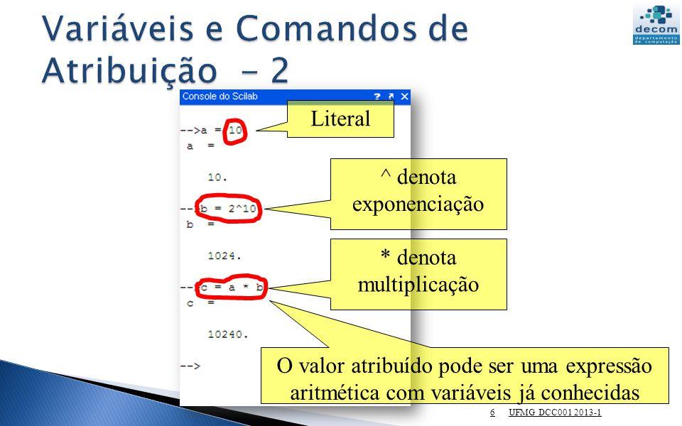 UFMG DCC001 2013-1 27 Área do círculo de raio r: A = π r 2 Faça um programa para calcular a área de um círculo de raio = 5cm.