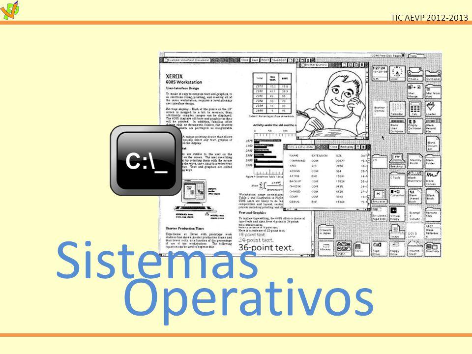 TIC AEVP 2012-2013 Sistema Operativo Gestor de recursos do sistema Interface entre máquina e utilizador Conjunto de programas elementares que possibilita a utilização do computador