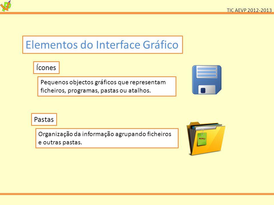 TIC AEVP 2012-2013 Elementos do Interface Gráfico Ícones Pequenos objectos gráficos que representam ficheiros, programas, pastas ou atalhos. Pastas Or