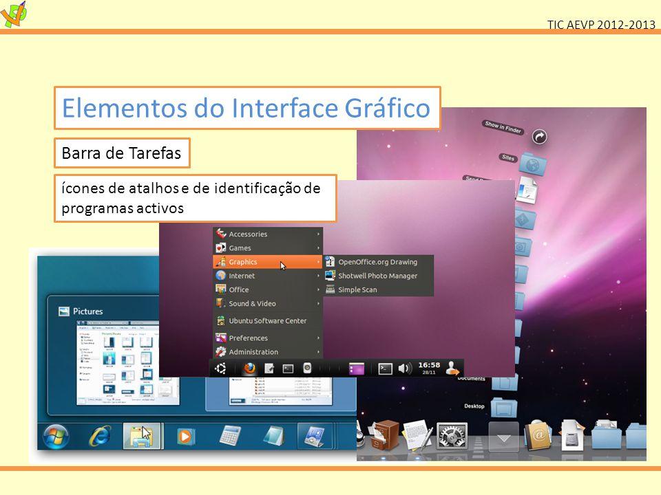 TIC AEVP 2012-2013 Elementos do Interface Gráfico Barra de Tarefas ícones de atalhos e de identificação de programas activos
