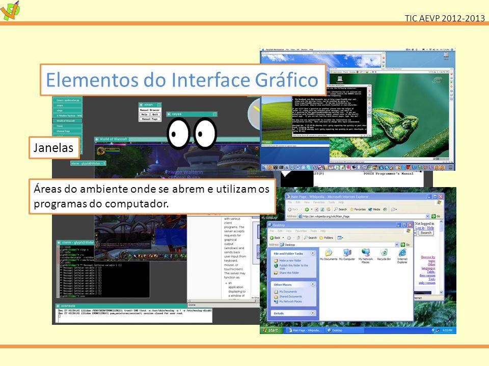 TIC AEVP 2012-2013 Elementos do Interface Gráfico Janelas Áreas do ambiente onde se abrem e utilizam os programas do computador.