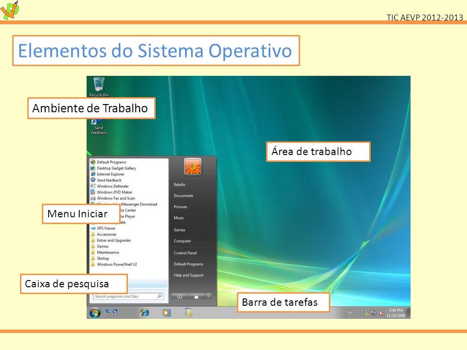 TIC AEVP 2012-2013 Elementos do Sistema Operativo Ambiente de Trabalho Área de trabalho Menu Iniciar Barra de tarefas Caixa de pesquisa