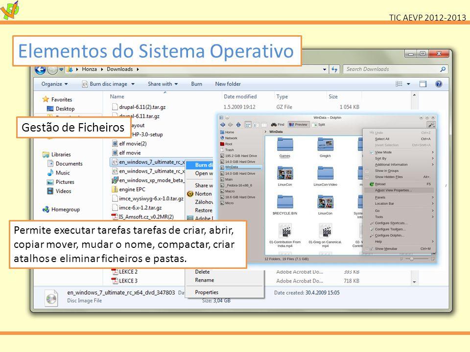 TIC AEVP 2012-2013 Elementos do Sistema Operativo Gestão de Ficheiros Permite executar tarefas tarefas de criar, abrir, copiar mover, mudar o nome, co