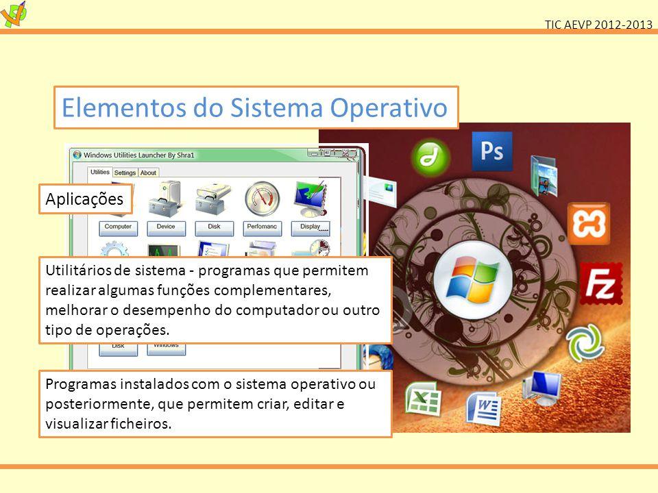 TIC AEVP 2012-2013 Elementos do Sistema Operativo Aplicações Utilitários de sistema - programas que permitem realizar algumas funções complementares,