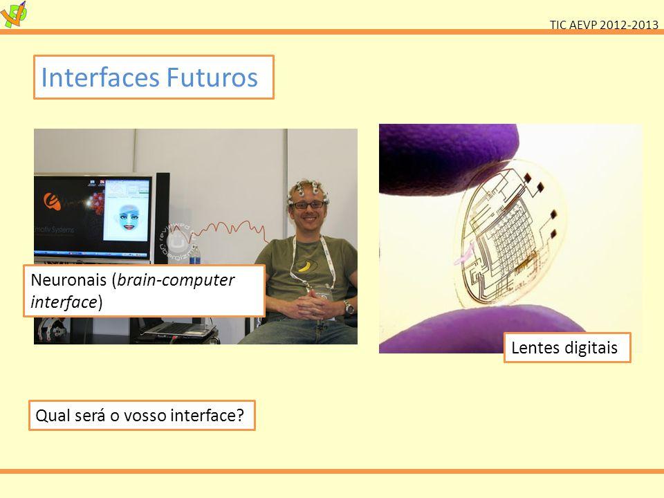 TIC AEVP 2012-2013 Neuronais (brain-computer interface) Lentes digitais Qual será o vosso interface? Interfaces Futuros