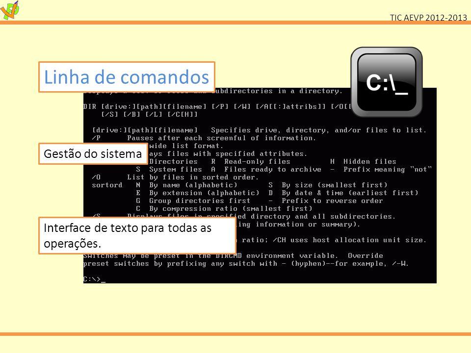 TIC AEVP 2012-2013 Sistema Operativo Gráfico (GUI) Interface visual com o computador Principais: Windows, Apple OS, Linux Existem variantes, sistemas específicos e alternativas.