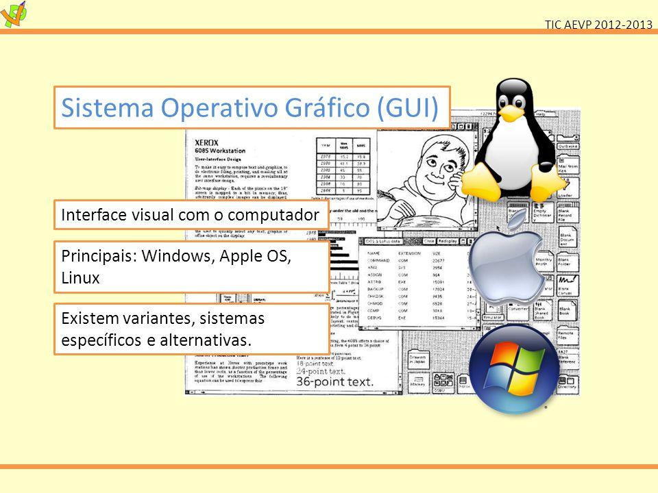TIC AEVP 2012-2013 Sistema Operativo Gráfico (GUI) Interface visual com o computador Principais: Windows, Apple OS, Linux Existem variantes, sistemas