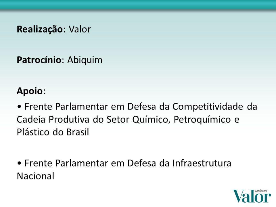 Realização: Valor Patrocínio: Abiquim Apoio: Frente Parlamentar em Defesa da Competitividade da Cadeia Produtiva do Setor Químico, Petroquímico e Plástico do Brasil Frente Parlamentar em Defesa da Infraestrutura Nacional