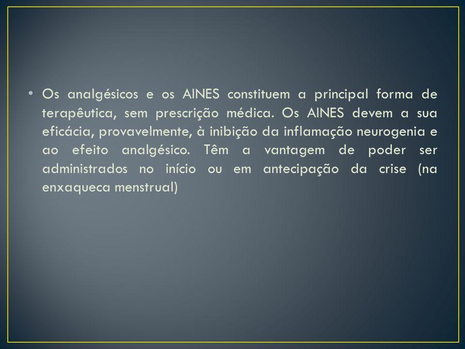 Os analgésicos e os AINES constituem a principal forma de terapêutica, sem prescrição médica. Os AINES devem a sua eficácia, provavelmente, à inibição