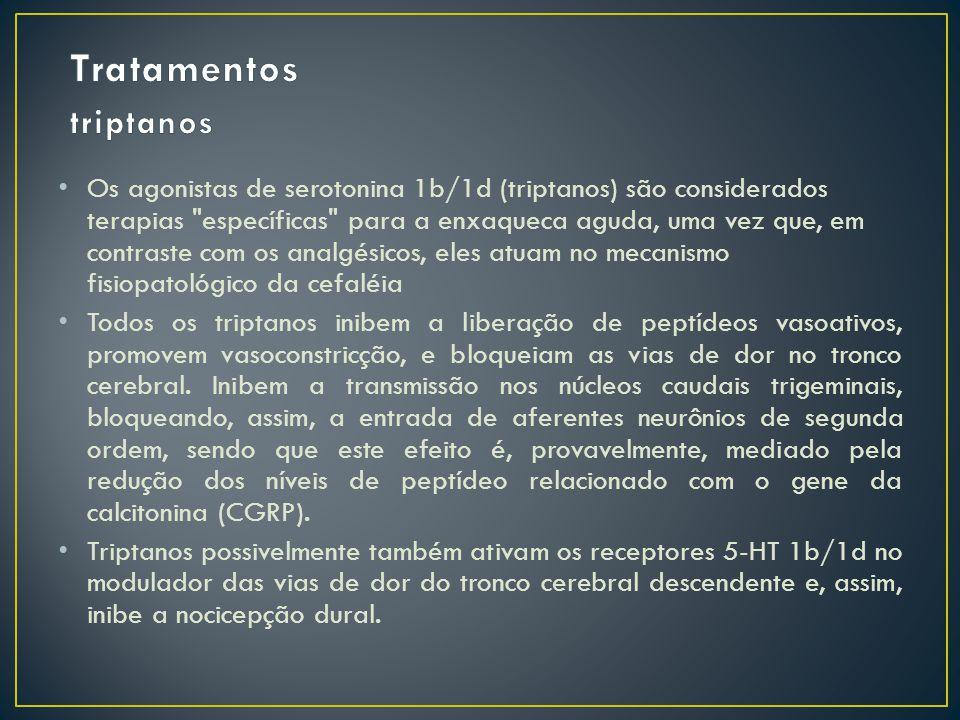 Os agonistas de serotonina 1b/1d (triptanos) são considerados terapias