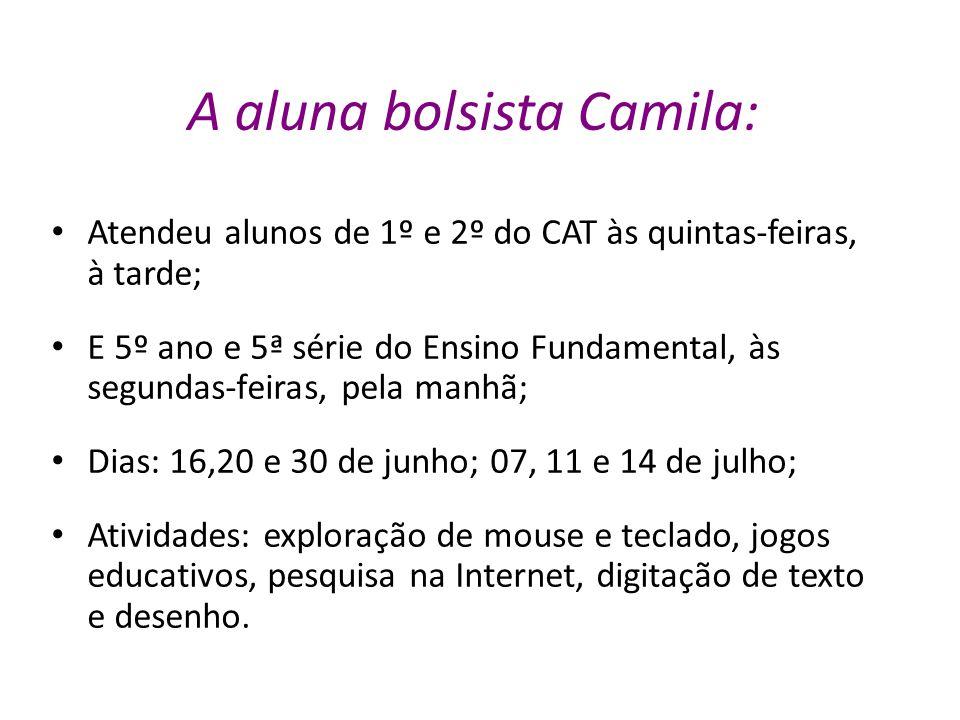 A aluna bolsista Camila: Atendeu alunos de 1º e 2º do CAT às quintas-feiras, à tarde; E 5º ano e 5ª série do Ensino Fundamental, às segundas-feiras, p