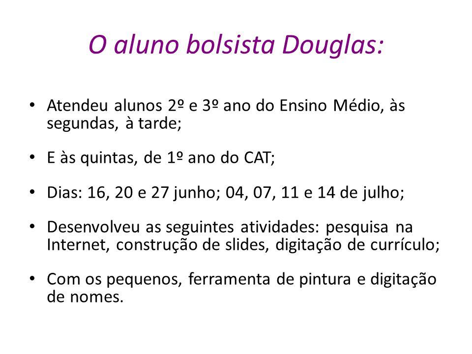 O aluno bolsista Douglas: Atendeu alunos 2º e 3º ano do Ensino Médio, às segundas, à tarde; E às quintas, de 1º ano do CAT; Dias: 16, 20 e 27 junho; 0