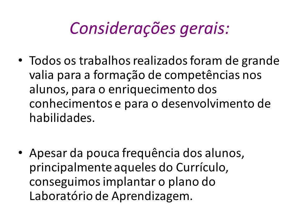 Considerações gerais: Todos os trabalhos realizados foram de grande valia para a formação de competências nos alunos, para o enriquecimento dos conhec