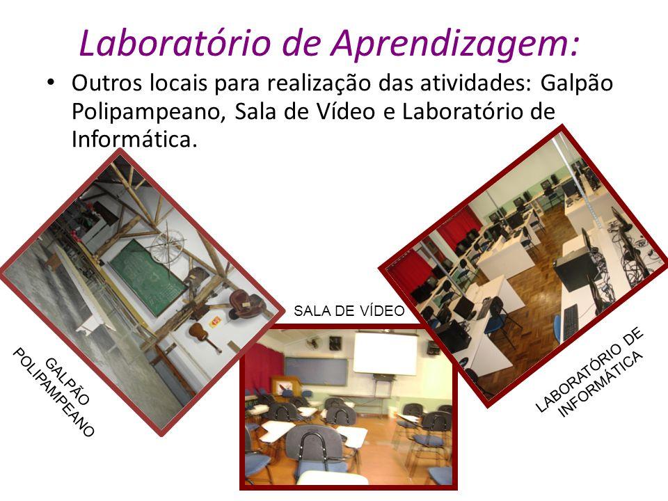 Laboratório de Aprendizagem: Outros locais para realização das atividades: Galpão Polipampeano, Sala de Vídeo e Laboratório de Informática. SALA DE VÍ