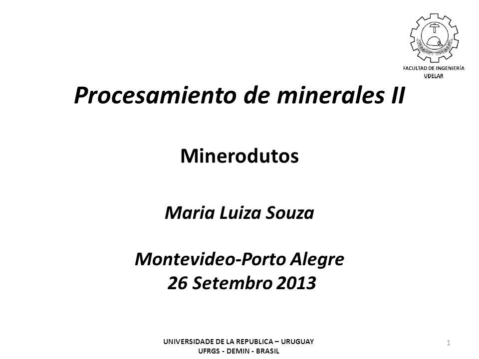 Procesamiento de minerales II Minerodutos Maria Luiza Souza Montevideo-Porto Alegre 26 Setembro 2013 1 UNIVERSIDADE DE LA REPUBLICA – URUGUAY UFRGS -
