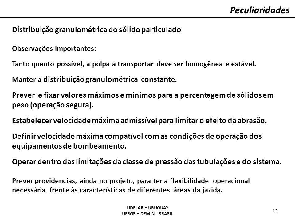 Peculiaridades UDELAR – URUGUAY UFRGS – DEMIN - BRASIL 12 Distribuição granulométrica do sólido particulado Observações importantes: Tanto quanto poss