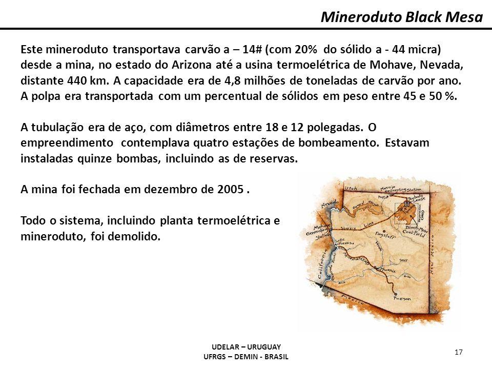 Mineroduto Black Mesa UDELAR – URUGUAY UFRGS – DEMIN - BRASIL 17 Este mineroduto transportava carvão a – 14# (com 20% do sólido a - 44 micra) desde a