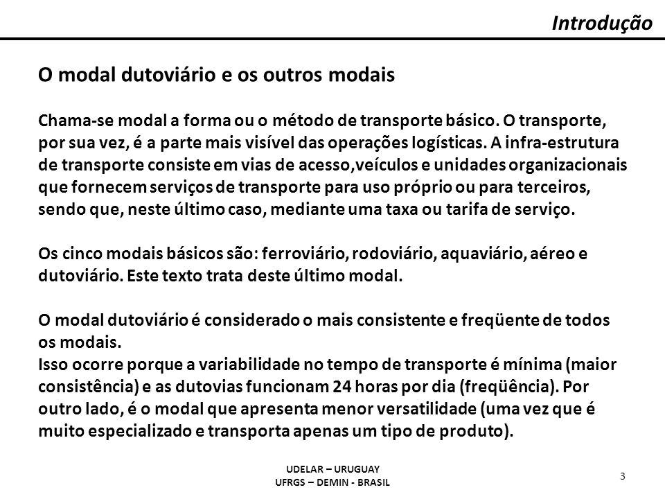 Introdução UDELAR – URUGUAY UFRGS – DEMIN - BRASIL 3 O modal dutoviário e os outros modais Chama-se modal a forma ou o método de transporte básico. O